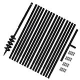 yorten 17m Erdbohrer mit Griff Handerdbohrer Doppel-Spirale 100 mm Verlängerungsrohr Metall Bohrer Erdbohrer Set Schwarz