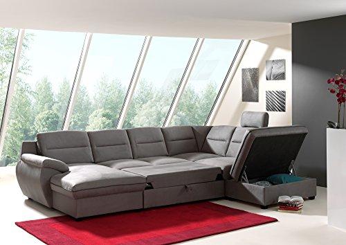 Canapé d'angle panoramique convertible tissu gris + coffre de rangement GAUCHE