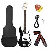 ammoon Madera Maciza Guitarra Bass Eléctrica Estilo PB Cuerpo de Tilo Palisandro con Estuche Correa Cable Pastillas