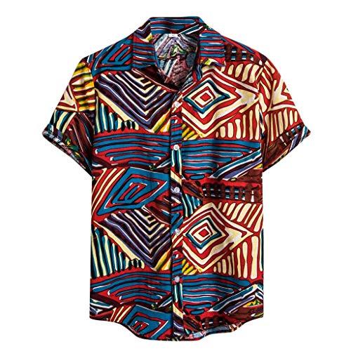 Blue Player T-shirt (herren t-shirt Liusdh Ethnische Kurzarm Casual Baumwolle Leinen Druck Hawaiihemd Bluse(Blue,M))