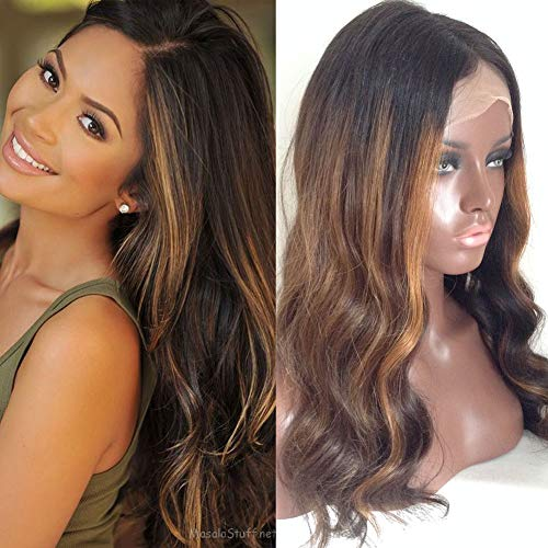 Ombre Lace Front Human Hair Wigs Brazilian Body Wave Highlights Color Glueless Lace Front Wigs For Black Women 16inch