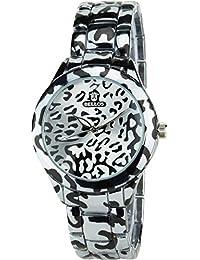BELLOS - Damen ArmbanduhrLeopard Silber Quarz Stahl Analog Display Typ stilvoll Sport Modus Armband Leopard SilberStahl
