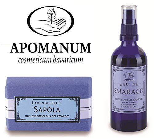Apomanum Geschenk Set Eau de Smaragd Raum und Wäscheduft und Lavendelseife Sapola – Hergestellt aus erlesenen Lavendelölen des französischen Hochlands