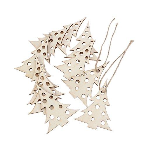 OULII Decorazioni di Natale albero di Natale in legno Design con canapa corde 10pz