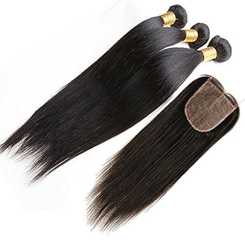 ohlees® 7A Virgin Human Hair Femmes de l'Inde véritable droit extensions de cheveux brésiliens vierges 100% humains Remy Tissage naturel Premium 3 Bundle trame + 1 pcs Lace Closure de dentelle fermeture frontal