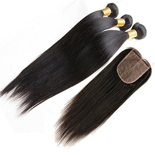 ohlees Human Hair Femmes Veritable Droit Extensions De Cheveux Bresil Vierges Humains Remy Tissage Premium 3 Bundle 1 pcs 4×4 Dentelle Fermeture Frontal 10\\