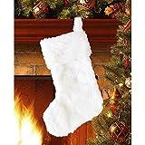 Tenrany Home Peluche Chaussettes Bas de Noël, 2 Pièces Blanc Grande Chaussettes en Fausse Fourrure Sac Cadeau pour Cheminée Fête de Noël Suspendus Arbre De Noël Décoration (White)
