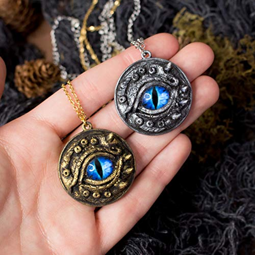 Drogon Blue Dragon Eye Necklace - Mittelalterlicher Gothic-Fantasy-Anhänger mit blauem Auge und...