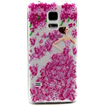 Funda para Samsung Galaxy S5, Case Cover para Samsung Galaxy S5, ISAKEN Transparente Ultra Slim Carcasa de Silicona TPU con Diseño Resistente a Arañazos Trasera Bumper Protección Case Cover Funda Cascara para Samsung Galaxy S5 SV I9600 G900 (Diseño #7)
