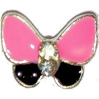 Alla moda inserti in legno verniciato con pittura fissaggio con viti e senza scatoletta, contenuto: 4 pcs, # rosa/Nero 60 farfalla 7 x 7