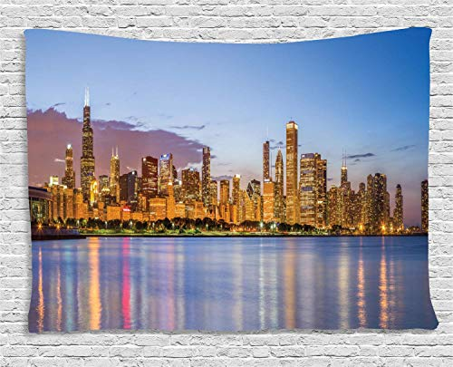 MLNHY Illinois Tapestry, Picturesque Chicago City from Lake Michigan Reflections USA Night American, Wall Hanging for Bedroom Living Room Dorm, 80 W X 60 L Inches, Ceil Blue Apricot