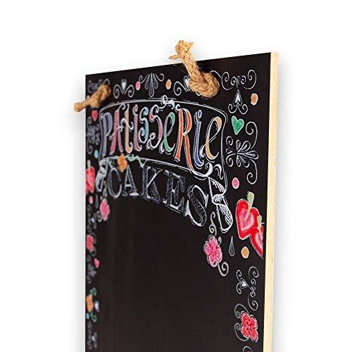 Legno Chalkboards UK Cupcakes Alto Sottile Lavagna//Lavagna//memo Board con Corda da Cucina Cabine Design Range Vassoio e Gesso 60/x 26.5/x 1/cm Nero