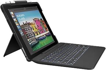 Logitech iPadPro 10,5Zoll Tastatur-Case (SlimCombo mit abnehmbarer, beleuchteter kabelloser Tastatur und SmartConnector, QWERTZ Deutsches Tastatur-Layout) schwarz