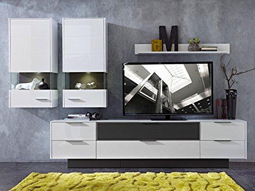 """Wohnwand Mediawand Anbauwand Schrankwand Wohnzimmerschrank Schrank """"Medox II"""" (Weiß-Hochglanz) - 2"""