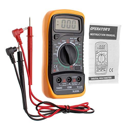 Digital Multímetro XL830L con LCD Retroiluminación–Medidor para corriente, AC/DC de voltaje, resistencia, continuidad, diodos, etc. Negro/Amarillo (Ink.9V batería y cables de prueba)