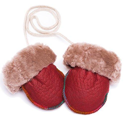 Niedliche Baby Lammfell-Fäustlinge Unisex (für Jungen, Mädchen, Kleinkind) mit Strickbündchen von CHRIST. Warme Winter-Handschuhe erhältlich in rot, Größe 2