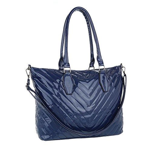 iTal-dEsiGn Damentasche Mittelgroße Schultertasche Handtasche Kunstleder TA-F7010 Blau