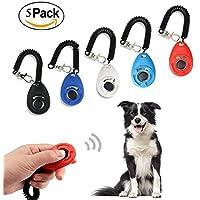 Ewolee 5 Pack Clicker Adiestramiento Perro - 5 Colores Clicker para Mascotas Perros Gatos Clicker Training