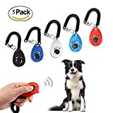 Ewolee 5 Pcs Profi Clicker, Hunde Trainings-Clicker mit Armband Haustier Hundetraining Clicker Big Button Clicker mit Handgelenk Band Strip für Haustier Clicker Training