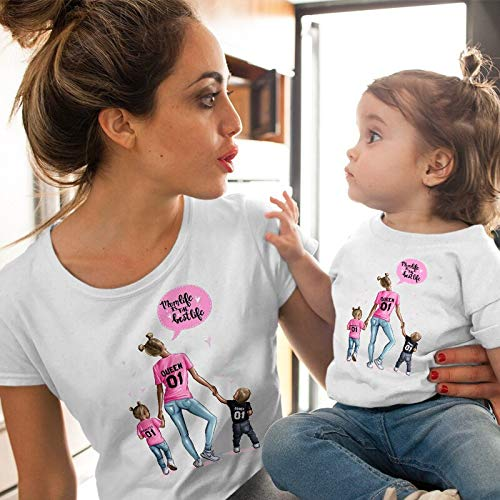 XMDNYE Weibliches T-Shirt Familie passende Kleidung Mädchen Kostüm Mutter Tochter SommerKurzarm Kinder Jungen Tops CX6L211