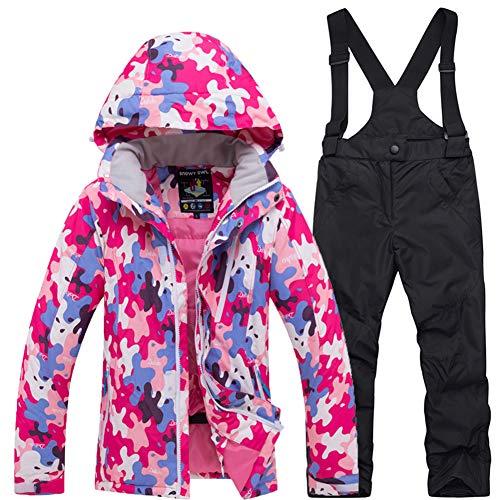 LPATTERN 2 Piezas Traje de Esquí para Niños Niñas Chaqueta de Nieve con Capucha + Pantalones con Tirantes Impermeables, Rosa roja+Negro, 5-6 años/S