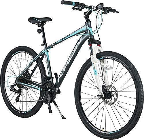 KRON TX-100 Aluminium Mountainbike 28 Zoll | 21 Gang Shimano Kettenschaltung mit Scheibenbremse | 18 Zoll Rahmen MTB Erwachsenen- und Jugendfahrrad | Grau Blau (Scheibenbremsen Für Mountainbike)