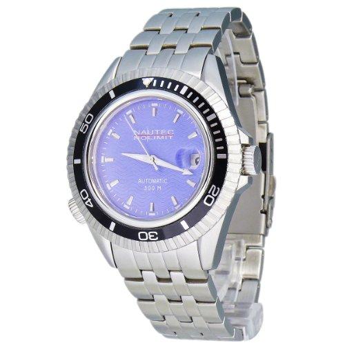 Nautec No Limit Watches - SH1 at/STSTBKBL - Montre Homme - Automatique - Analogique - Bracelet Acier Inoxydable Argent
