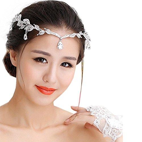 HABI Haarschmuck rot Blumen Kristalle Accessoires Brautschmuck Hair Decoration für Party,Hochzeit