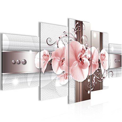 Bilder Blumen Orchidee Wandbild 200 x 100 cm Vlies - Leinwand Bild XXL Format Wandbilder Wohnzimmer Wohnung Deko Kunstdrucke Pink 5 Teilig...
