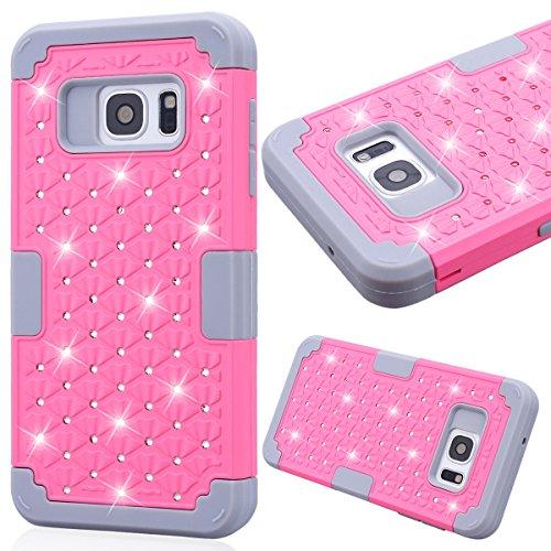 Samsung Galaxy S7 Cover, GrandEver PC Rigida + TPU Morbido Silicone Custodia Hybrid Full-body Protective Case con Front Caso Bling Strass Glitter Copertura - Rosa + Grigio