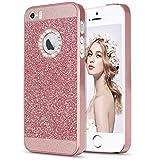 Imikoko Hülle für iPhone 5/5S/SE Hülle Luxus Bling Hardcase Strass Glitzer Schutzhülle Hülle Handyhülle Etui Case(Rosegold)