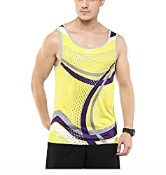 Yepme Mens Yellow Blended Muscle Vests - YPMMVST0051_S