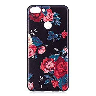 Huawei P Smart Case, Asnlove 3D Relief Prints TPU Gel Cover, Premium Shockproof Back Skin Shell with [Anti-Slip] [Ultra-Thin] for Huawei P Smart Smartphone, Flower