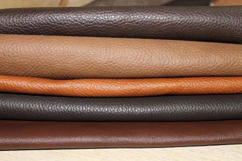 Lederreste - Bastelleder 1 Kg - Sortiert Braun (Verschiedene Töne), Alle Stücke Mind. DIN A3 - Zum Basteln und Nähen