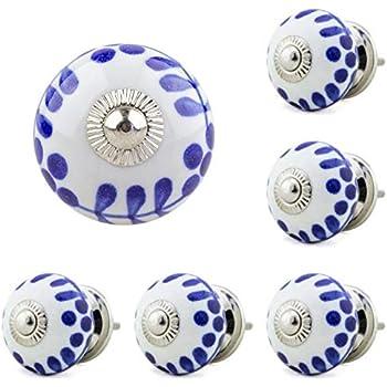 Lot de 6 boutons de meubles en c/éramique No Jay Knopf 171/_005JKGH Poign/ées de tiroir en porcelaine peinte /à la main Jaune//blanc
