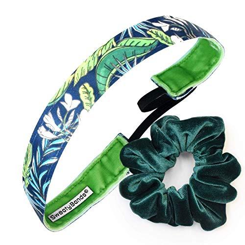 Sweaty Bands Damen Mädchen Stirnband - Rutschfest, samtig gefüttert Fitness Haarband - Geschenkpackung - Read My Palm Navy 2,5 cm und Smaragd-Gummi.