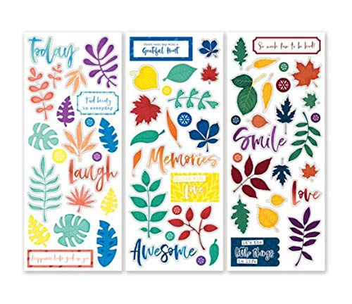 Creative Memories Aufkleber für Scrapbooks, Motiv Regenbogen Rush Leaf & Icon, 3 Stück -
