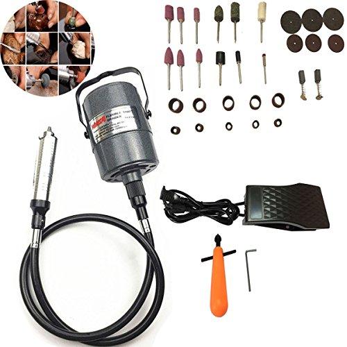 beyondlife flexibel Elektrische Flex Baum Mahlwerk Carver Gravur Werkzeug Set Typ-Kleiderbügel, drehbar vielseitig einsetzbar, Bohrfutter, Pedal-Befehl, 1/4HP, 30-teilig Zubehör (Ps Motor 0,25)
