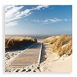 Artland Glas Bild Wandbild Eva Gruendemann Nordseestrand auf Langeoog Steg Landschaften Strand Fotografie Creme