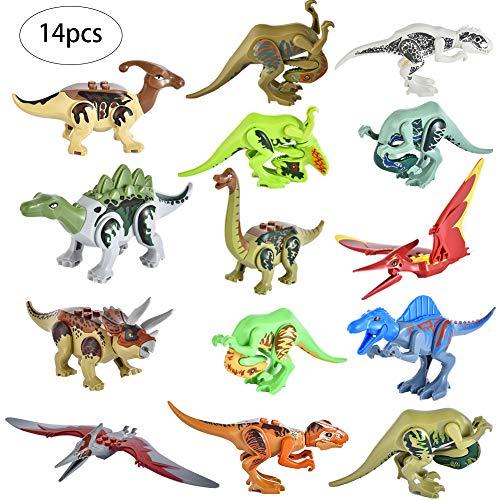 KIOPS 14 Dinosaurios Bloques De Construcción De Animales Bloques De Montaje De Dinosaurios Jurásicos Niños Pequeños Abetos