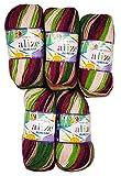 5 x 100g Babywolle Bebe Batik mehrfarbig, 500 Gramm Wolle zum Stricken und Häkeln (beere lila rosa grün 6061)
