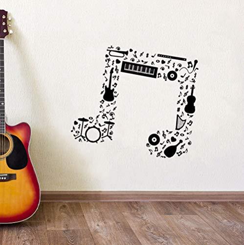 sswymx Music Note Wandaufkleber Gitarre Saxophon Flöte Trommeln Orchester Wandtattoo Music Notes Vinyl Wandkunst Wandbilder 57 * 50 cm
