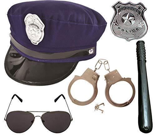Labreeze NYPD US Police Hut Handschellen Abzeichen Brille Schlagzeug 5-teiliges Set Cop Kostüm