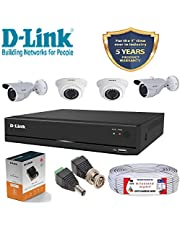 D-Link 4 Channel CCTV 2MP Kit 2 Dome & 2 Bullet with All Ac