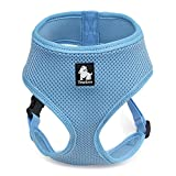 Petcomer Soft Mesh Hundegeschirr No Pull Comfort Gepolsterte Weste für kleine Haustier Katze und Welpen (L(Chest Size:19-23in), Blau)