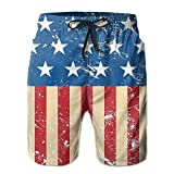 best gift Men's Retro USA Flag Quick Dry Swim Trunks Board Shorts Beach Shorts M