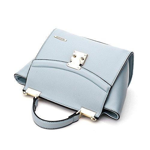Frauen Handtasche - PU Leder Frauen Handtasche Schultertaschen Top Handle Tote Damen Mädchen Reise Hand Taschen (Schwarz) Blau