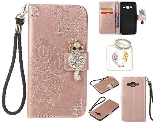 Preisvergleich Produktbild für Samsung Galaxy J3 (2016 Edition) PU Diamant Strass Niedlich Eule Leder Silikon Schutzhülle Handy case Book Style Portemonnaie Design für Samsung Galaxy J3 (2016 Edition) + Schlüsselanhänger ( 0P (5)