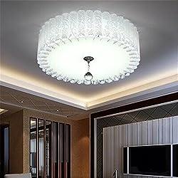 Gunxifacai Este idílico romántico dormitorio principal es cálido y redondo LED Lámpara de techo creativo Habitación de matrimonio salón moderno minimalista Lámparas de luces, el diámetro 38cm.