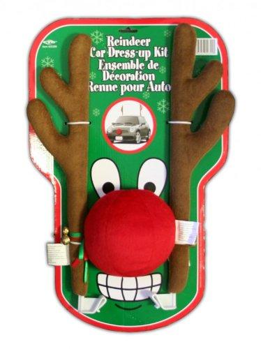 Auto KFZ Rentier Kostüm Auto mit 45cm Geweih und roter Nase Plüsch ()